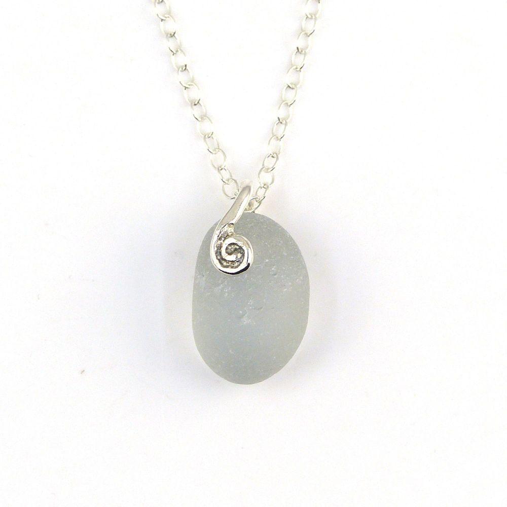 Tiny Light Smoke Grey Sea Glass Necklace NELL