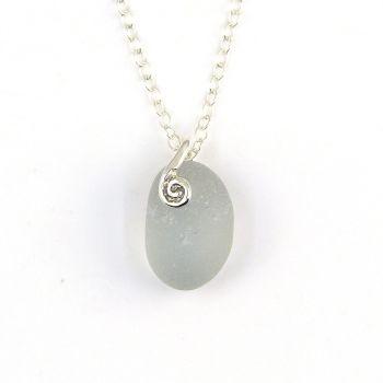 Tiny Light Smoke Grey Sea Glass Necklace SIA