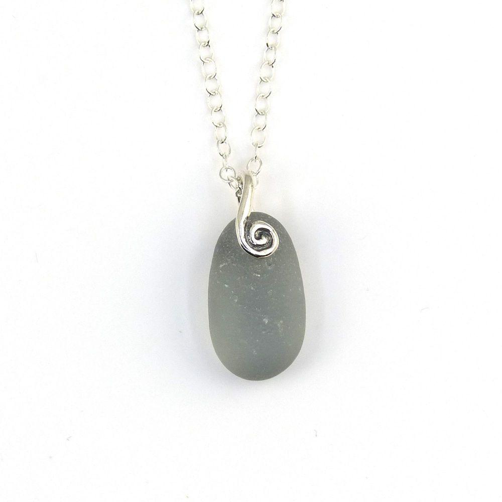 Tiny Smoke Grey Sea Glass Necklace JOSS