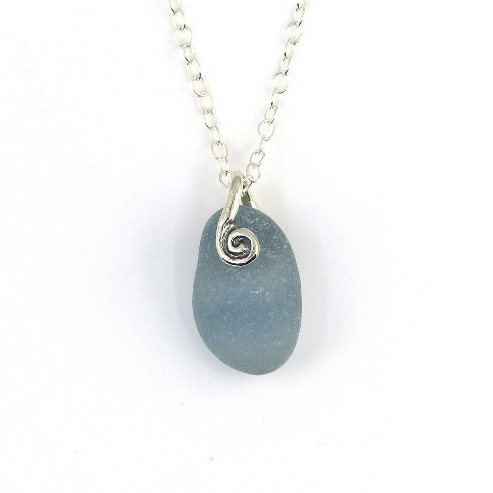 Tiny Deep Steel Grey Sea Glass Necklace THEA