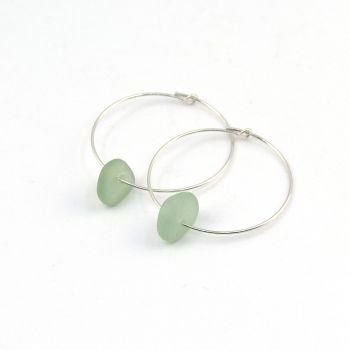 Seaham Light Teal Blue  Sea Glass Sterling Silver Earrings E207