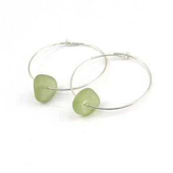 Seaham Pale Sage Green Sea Glass Sterling Silver Hoop Earrings E208