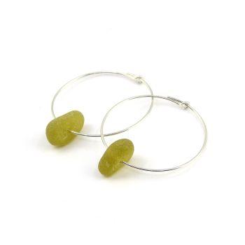 Seaham Deep Citron Sea Glass and Sterling Silver Hoop Earrings  E209