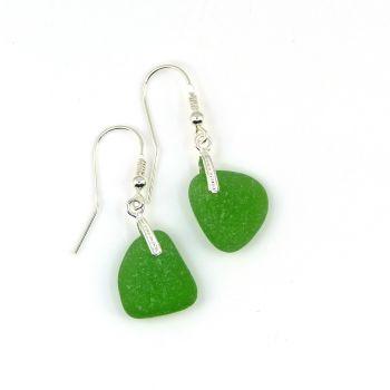 Emerald Green Sea Glass Sterling Silver Drop Earrings E187