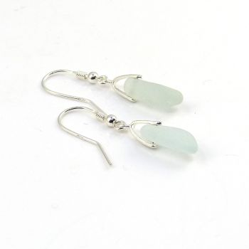 Seaham Pale Blue Sea Glass Sterling Silver Earrings  E206