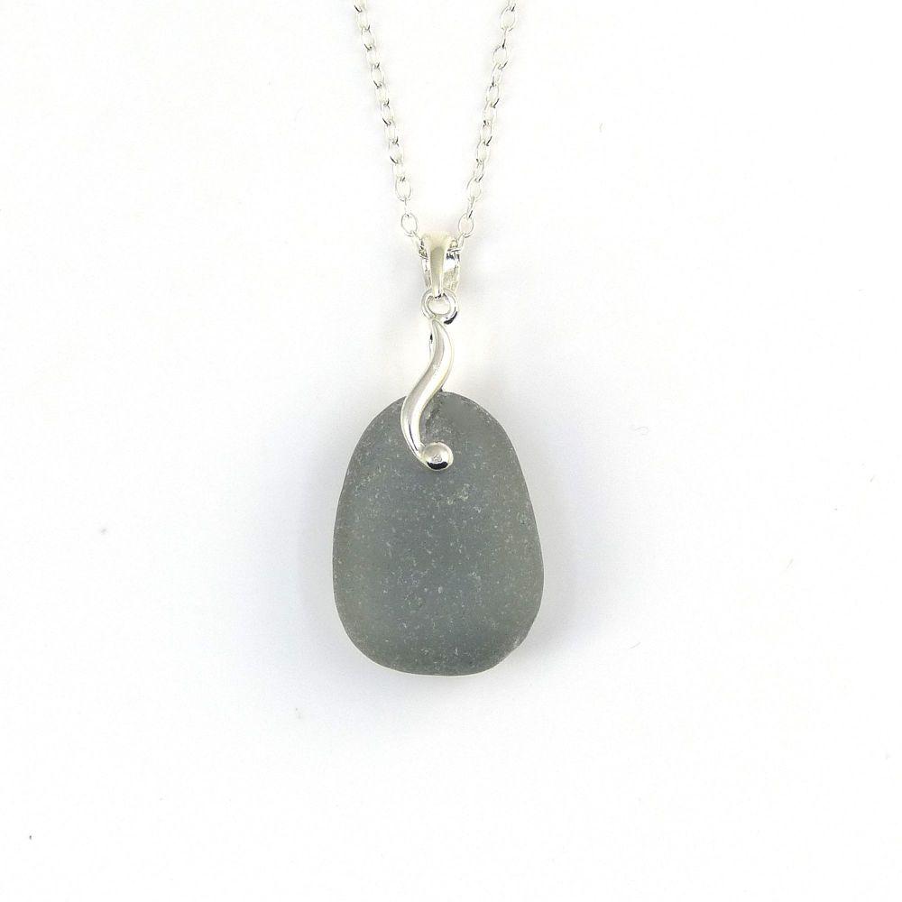 Tiny Soft Grey Sea Glass Necklace YVETTE