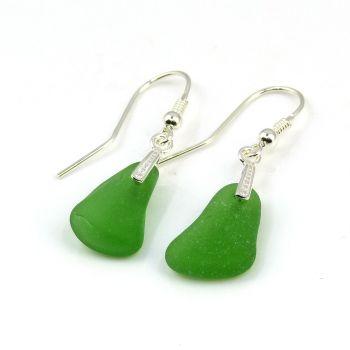 Emerald Green Sea Glass Sterling Silver Drop Earrings E185