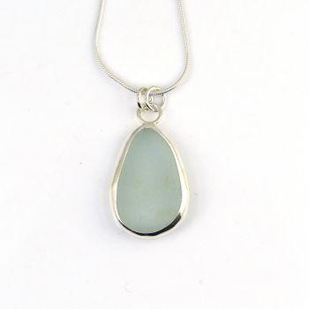 Bezel Set Seafoam Blue Sea Glass Pendant Necklace MAE