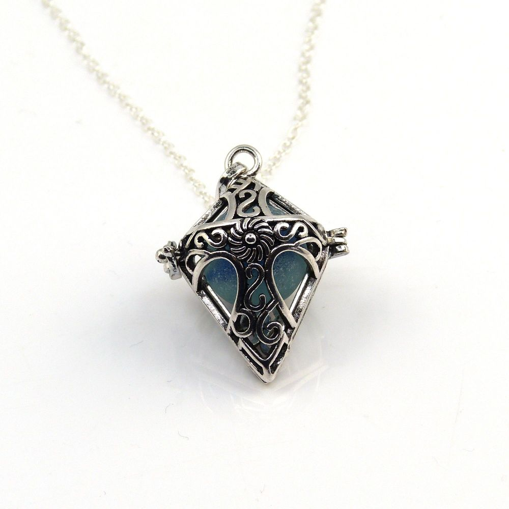 Ocean Blue Sea Glass Marble Locket Necklace L199