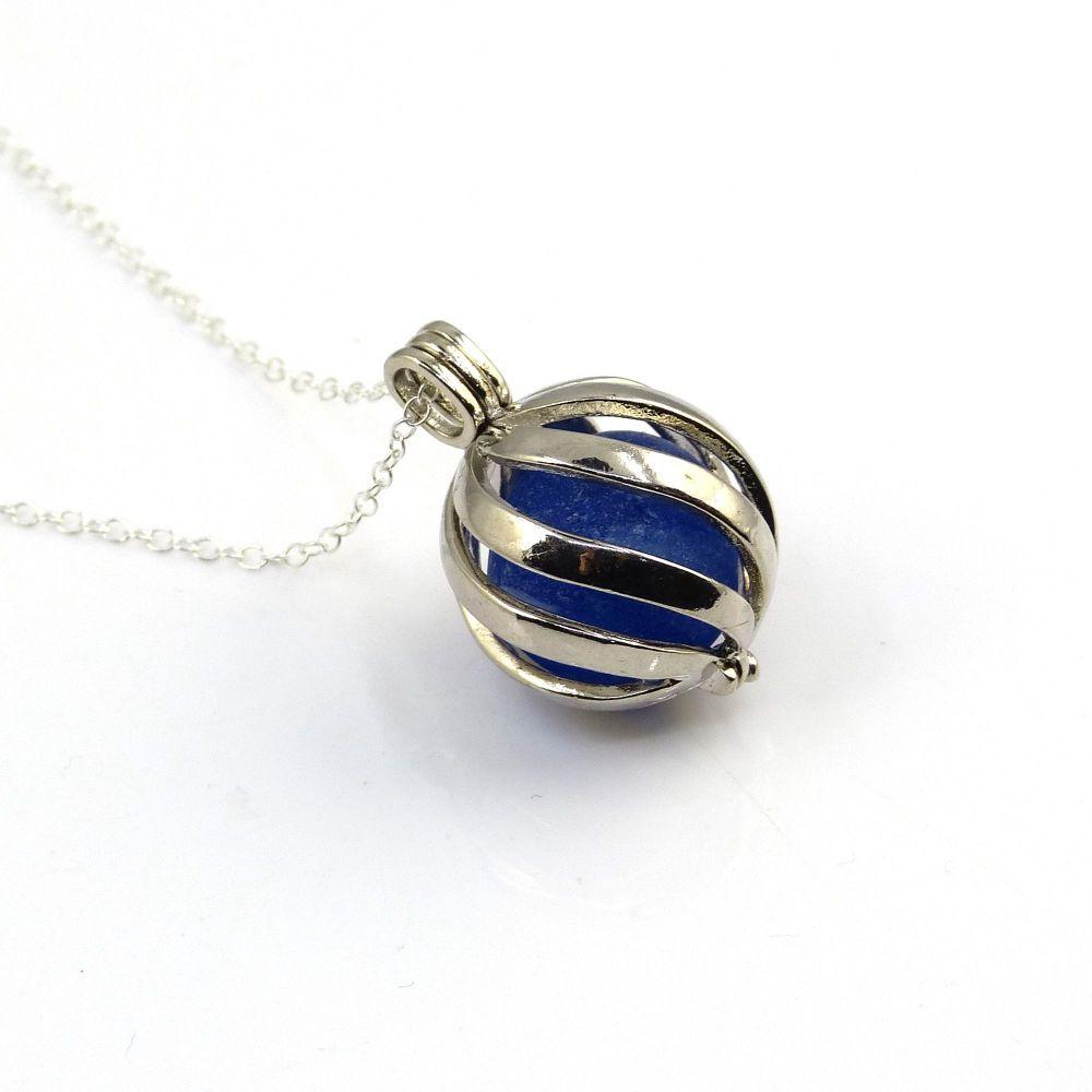 Cobalt Blue Sea Glass Marble in Swirl Locket L200