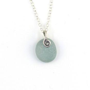 Tiny Deep Steel Blue Sea Glass Necklace TESS