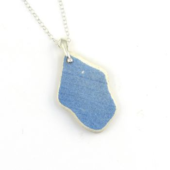 Ice Blue Beach Pottery on Sterling Silver Necklace P142