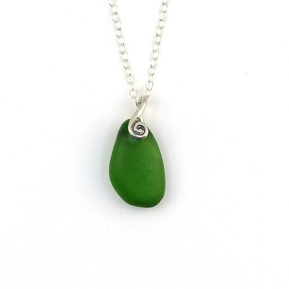 Jade Green English Sea Glass Necklace LACY