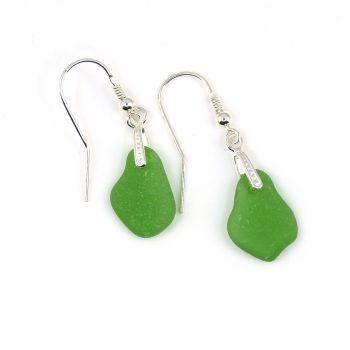 Emerald Green Sea Glass Sterling Silver Drop Earrings E188