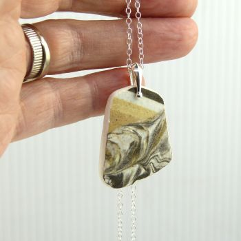 Patterned English Beach Pottery Pendant Necklace P144
