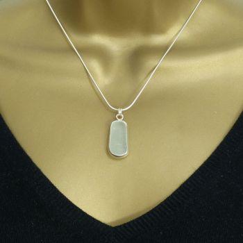 Sea Glass Pendant, Bezel Set,  Seafoam Blue Seaglass,  Minimalist Jewellery, JENNA