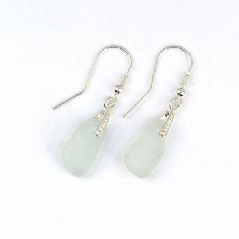 Seaham Pale Blue Sea Glass Sterling Silver Earrings  E211
