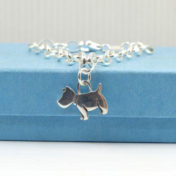 Sterling Silver Bracelet with Silver Scottie Dog Charm