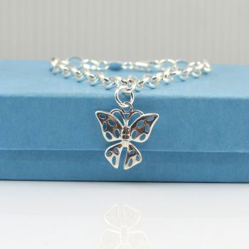 Sterling Silver Bracelet with Silver Filigree Butterfly Charm