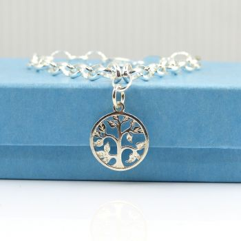 Sterling Silver Bracelet with Silver Filigree Tree of Life Charm