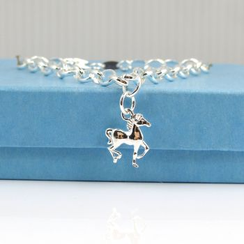 Sterling Silver Bracelet , Silver Horse, Silver Pony, Equestrian Jewellery,  Charm Necklace