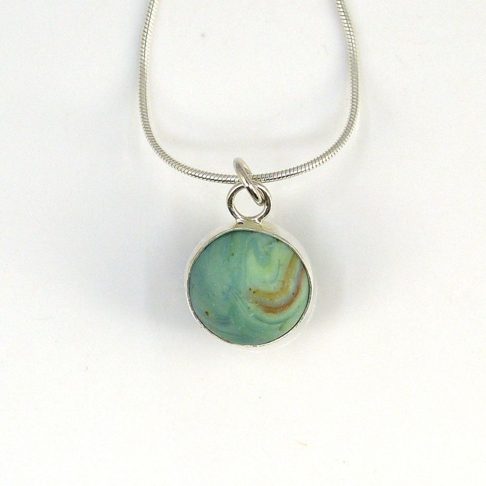 Sea Glass Marble Necklace,  Pastel Green Marbled Marble,  Bezel Set Marble,