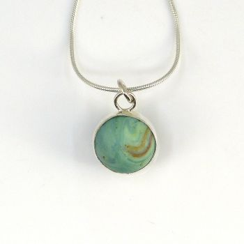 Sea Glass Marble Necklace,  Pastel Green Marbled Marble,  Bezel Set Marble, Beach Marble
