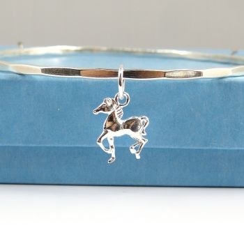 Sterling Silver Hammered Bangle with Horse Charm - Small, Medium, Large