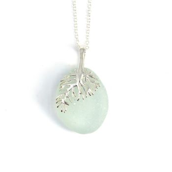 Seaspray Sea Glass and Sterling Silver Necklace ELSA