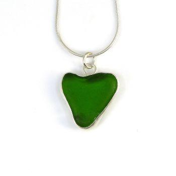 Bezel Set Emerald Green Sea Glass heart Pendant Necklace RILEY