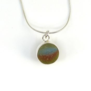 English Sea Glass Rainbow Marble Pendant, Silver Necklace