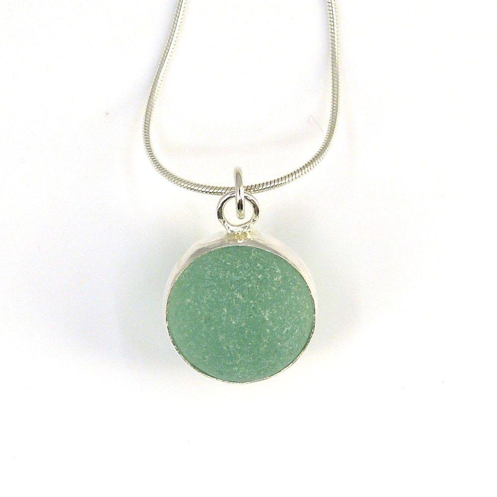 Sea Glass Marble Necklace,  Aqua Marble,  Bezel Set Marble, B270