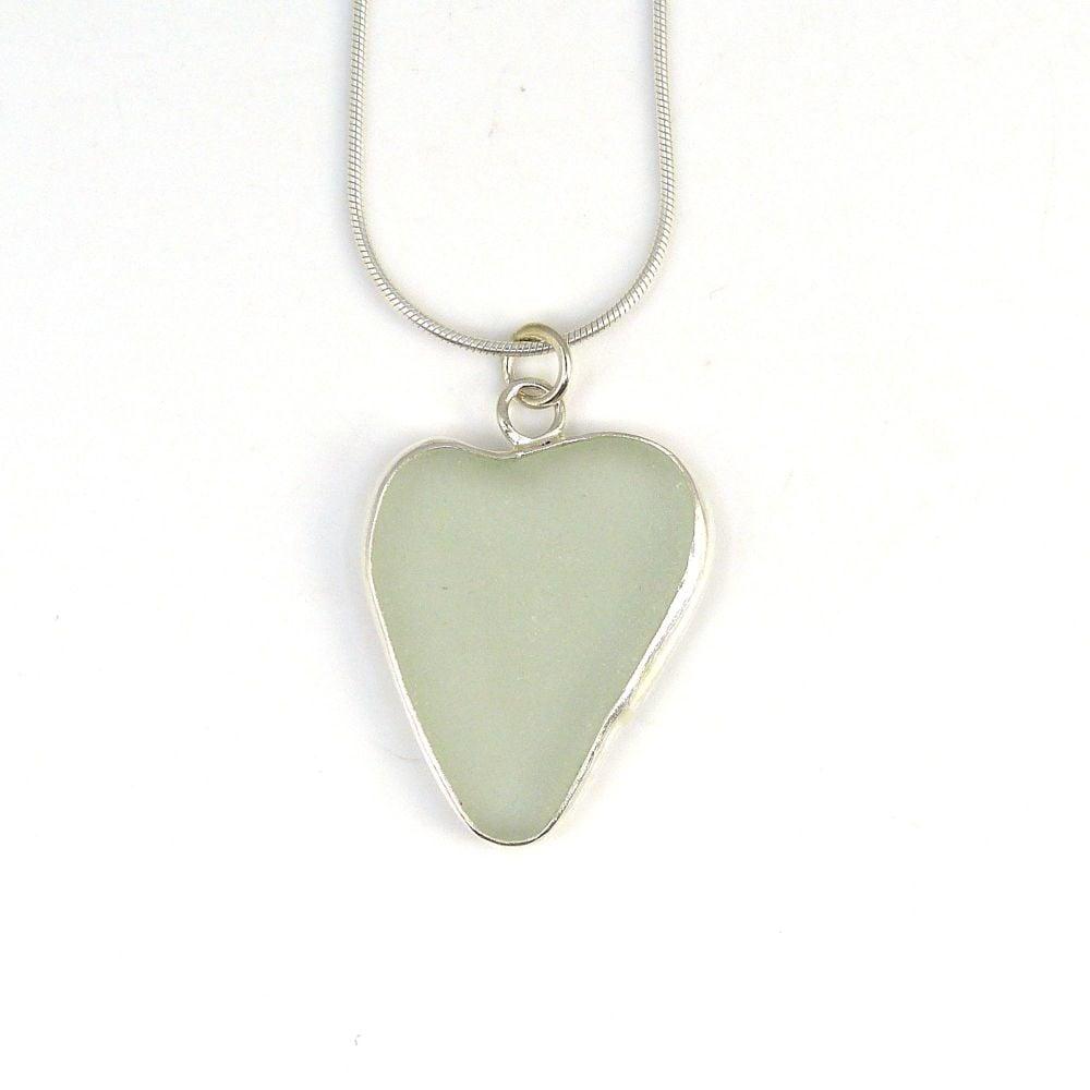 Bezel Set Seamist Sea Glass Heart Pendant Necklace BILLIE