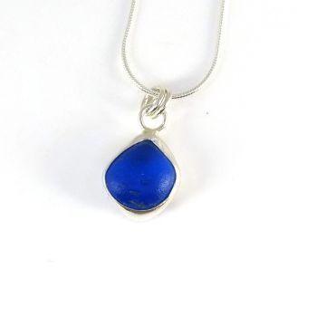 Tiny Cobalt Sea Glass Backless Bezel Set Pendant Necklace CARI
