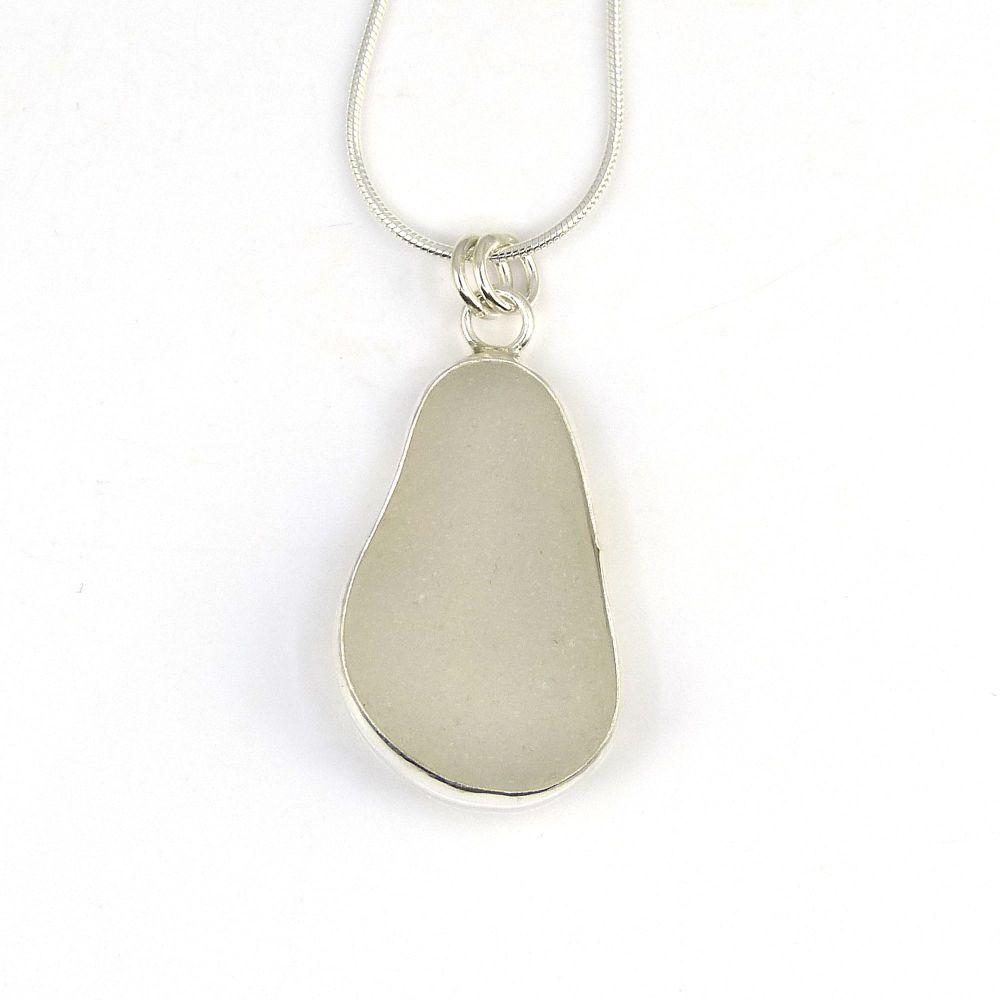 Bezel White Blue Sea Glass Pendant  AMY