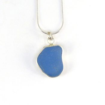 Bezel Set Deep Cornflower Blue Sea Glass Pendant Necklace RENEE