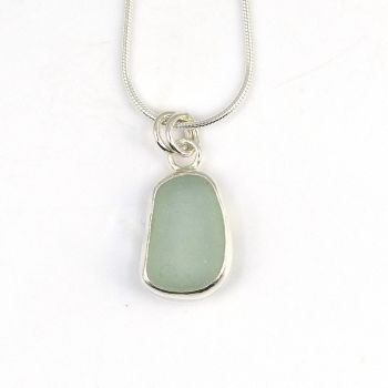 Tiny Bezel Set Seafoam Blue Sea Glass Pendant Necklace NANINE