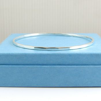 Sterling Silver Hammered  Wire Bangle
