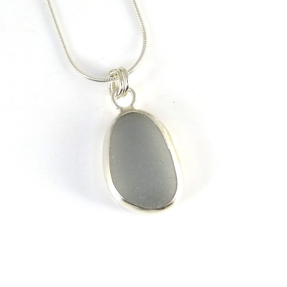 Bezel Set Grey Sea Glass Pendant Necklace GABRIELA