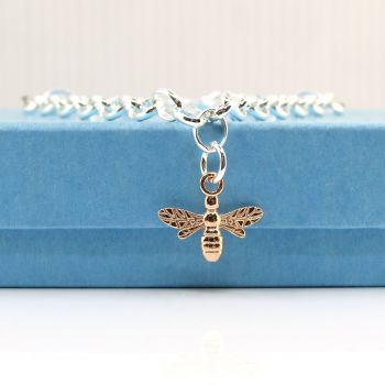 Sterling Silver Bracelet with Red Gold Bee Charm