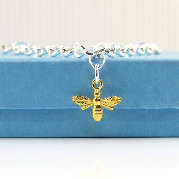 Sterling Silver Bracelet with Yellow Gold Bee Charm