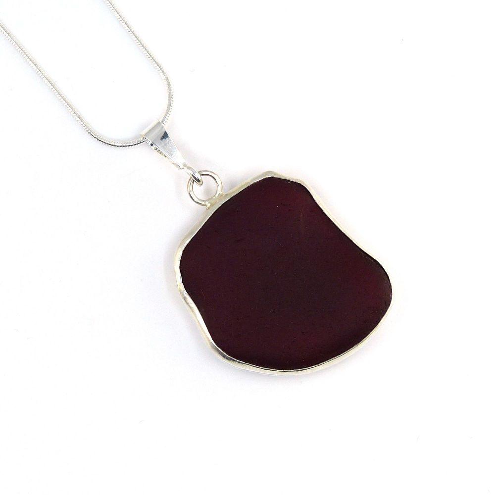 Rare Red Sea Glass Backless Bezel Set Pendant Necklace BEA