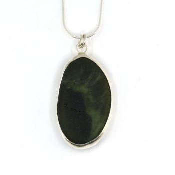 Bezel Set Green Bonfire Sea Glass Pendant Necklace ROBYN