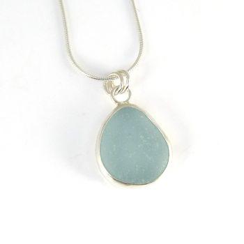 Bezel Set Light Teal Blue Sea Glass Pendant Necklace CARIN