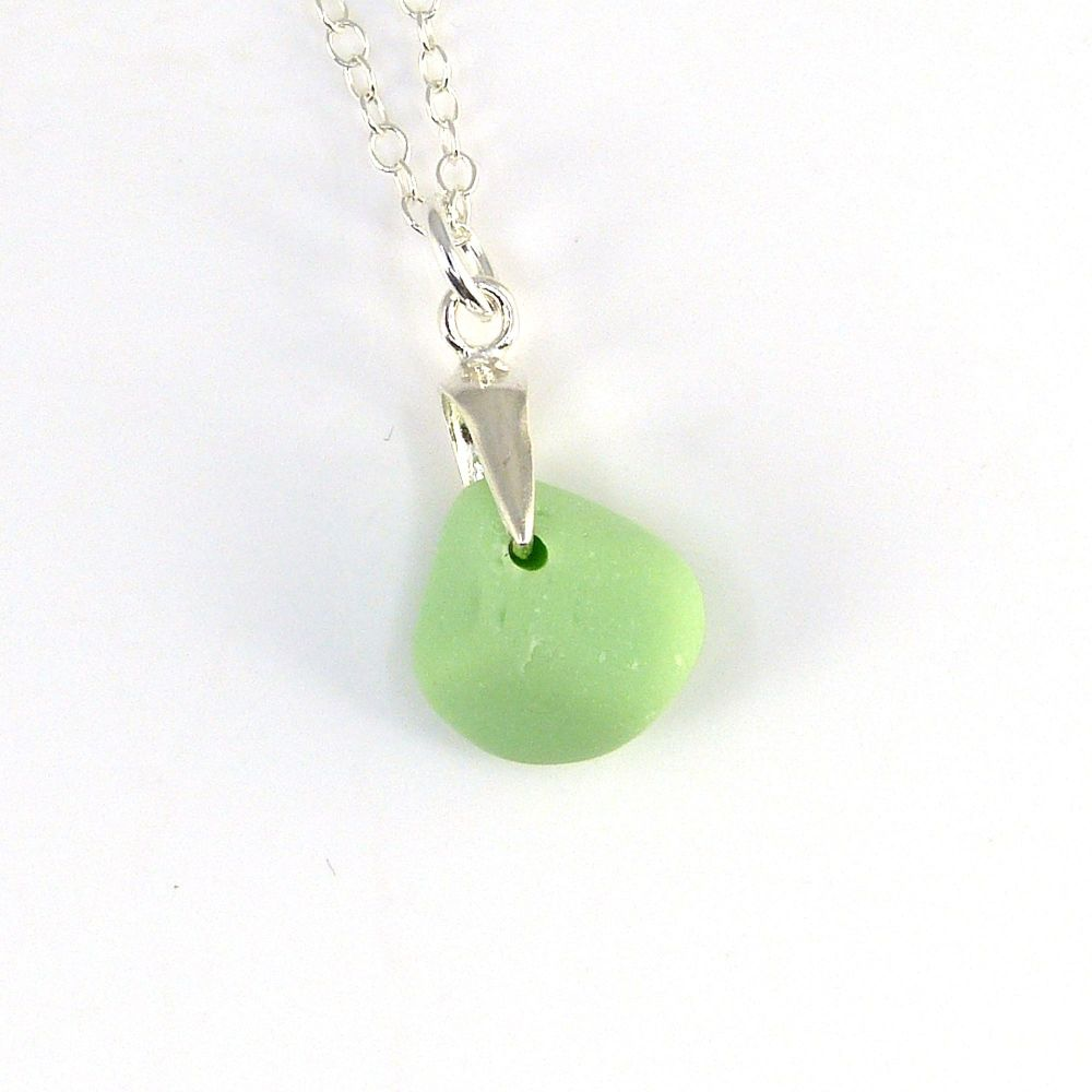 Tiny Pastel Green Milk Sea Glass Necklace