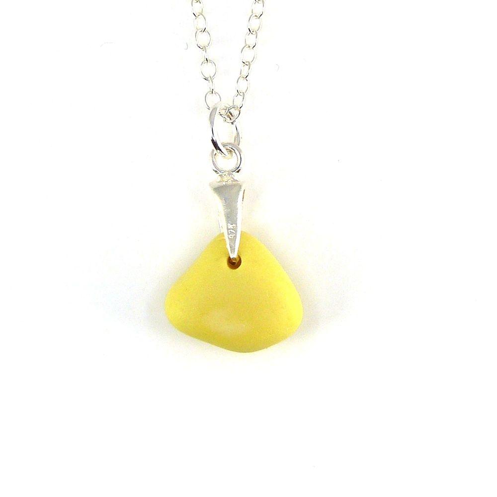 Tiny Pastel Yellow Milk Sea Glass Necklace