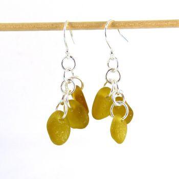Pale Amber Sea Glass Sterling Silver Drop Earrings, Seaham Sea Glass E216