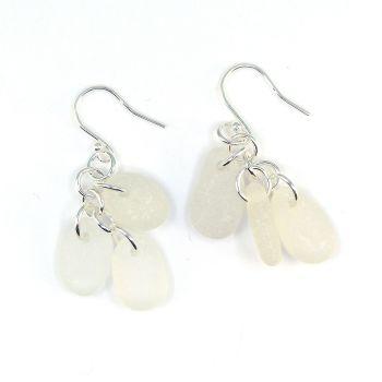 White Sea Glass Sterling Silver Drop Earrings, Seaham Sea Glass E220