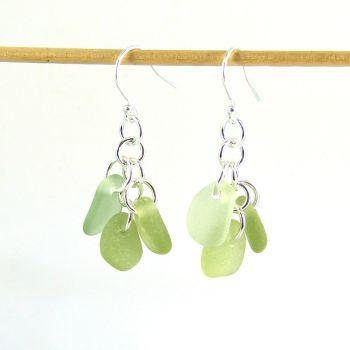 Pale Green Sea Glass Sterling Silver Drop Earrings, Seaham Sea Glass E217