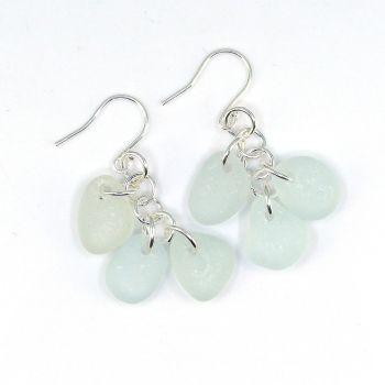 Pale Blue Sea Glass Sterling Silver Drop Earrings, Seaham Sea Glass E215
